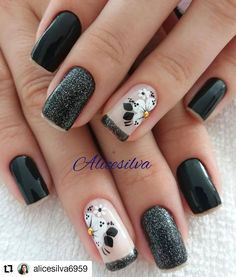 58 Ideas Manicure Designs Black Classy For 2019 Classy Nails, Cute Nails, Pretty Nails, My Nails, Accent Nail Designs, Classy Nail Designs, Nail Art Designs, Accent Nails, French Nails