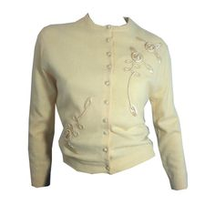 Ribbon Trimmed Ivory and Silk Cashmere Cardigan circa 1950s - Dorothea's Closet Vintage