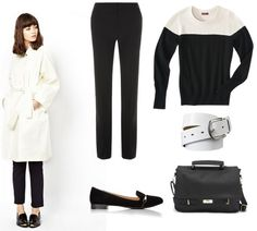 Black pants, black and white sweater, white trench coat, black shoes