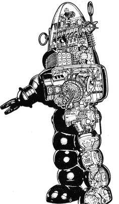 """oldschoolsciencefiction: """" Robby the Robot schematic. Vintage Robots, Retro Robot, Classic Sci Fi Movies, Robby The Robot, Cool Robots, Robots Robots, Arte Nerd, Sci Fi Models, Sci Fi Shows"""