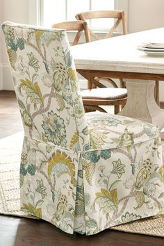 custom parsons chair slipcover with decorative back and banded skirt