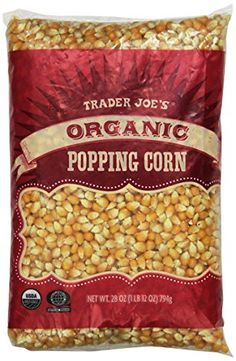 Trader Joe's Organic Popping Corn 28 oz ( 1 lb 12 oz Whole grain snack that's high in fiber. Low in fat and sodium. Certified organic & all natural. Best Popcorn Kernels, White Popcorn, Gourmet Popcorn, Gourmet Recipes, Snack Recipes, Snacks, Great Northern Popcorn, Pop Corn, Fiesta Party