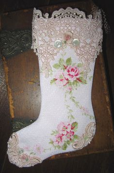 Sweet Shabby Pale Pink Barkcloth Roses Christmas Stocking