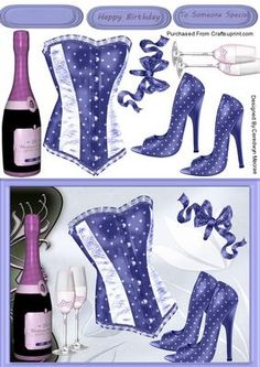 lOVELY Blue bask and pink Champagne on Craftsuprint - Add To Basket!