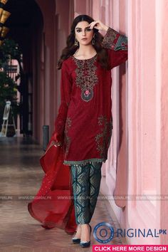 Maria B D-404 Maroon Lawn Eid Collection 2017