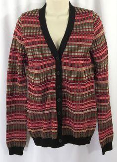 M Missoni 8 44 IT Black Red Brown Striped Knit Pebble Signature Cardigan Sweater #Missoni #Cardigan