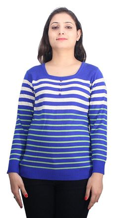 Romano Beautiful Blue Wool Pullover Sweater Top for Women -- You can get more details by clicking on the image.