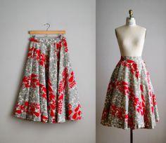 50s circle skirt / 1950s floral cotton full circle skirt