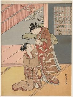 Two Women with a Baby and a Letter Japanese about (Meiwa Artist Suzuki Harunobu (Japanese, Geisha, Japan Painting, China Painting, Art Occidental, Art Japonais, Samurai, Japanese Prints, Japan Art, Museum Of Fine Arts
