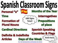 Now with 117 signs! - Surround your students with these colorful, informative Spanish classroom signs!  They will refer to them often and will become more confident in t...