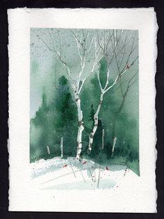 Billedresultat for Watercolor Christmas Cards Watercolor Pictures, Watercolor Trees, Watercolor Cards, Watercolor Landscape, Watercolour Painting, Landscape Paintings, Watercolors, Landscapes, Watercolor Artists