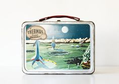 Let's Take Off - Vintage Thermos Lunch Box - Outer Space - Atomic - Mid Century - Rockets - Space Age - Blue - Green - For Him