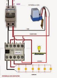 Fotocélula con contactor Basic Electrical Wiring, Electrical Circuit Diagram, Electrical Projects, Electrical Installation, Electrical Engineering, Electronics Projects, Ac Circuit, House Wiring, Solar Power