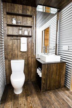 Farmhouse style bathrooms are superb as a result of these are small rooms that may take advantage of impression! Take a look at these Remarkable Small Farmhouse Bathroom Decor Ideas And Remodel! Do you need to remodel your bathroom… Continue Reading → Tiny House Bathroom, Master Bathroom, Basement Bathroom, Small Bathroom, Decoration Inspiration, Decor Ideas, Rustic Bathrooms, Deco Design, Prefab
