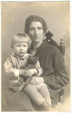Girl with Teddy Bear and Mother: Vintage Photo from 1910s from curioshop on Ruby Lane