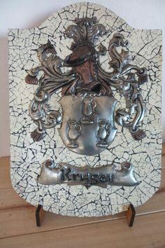 Kruger Family crest Pewter Art, Family Crest, Crests, Coat Of Arms, Lion Sculpture, Statue, Metal, Metals, The Sentence