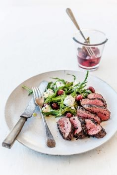 Recipe: Pepperberry-crusted venison with pickled cherries: A new and delicious way to eat venison from Paul West's new book The River Cottage Australia.