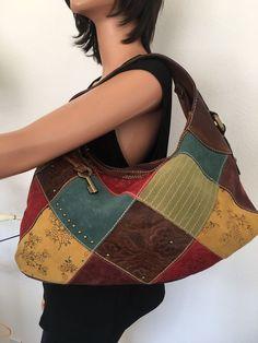 Fossil Leather Bag Dedigner Fashion Hip Multicolor Patch Studded Frmale  #Fossil #ShoulderBag