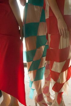Checkerboard layers backstage at Thomas Tait SS15 LFW. More images here: http://www.dazeddigital.com/fashion/article/21729/1/thomas-tait-ss15