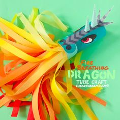 Go on an epic journey with this fire breathing dragon craft! Use a cardboard tube as the frame for this fiery guy. Paper Flowers For Kids, Paper Plate Crafts For Kids, Craft Projects For Kids, Craft Activities For Kids, Diy For Kids, Literacy Activities, Dragon Kid, Dragon Party, Diy Crafts To Do