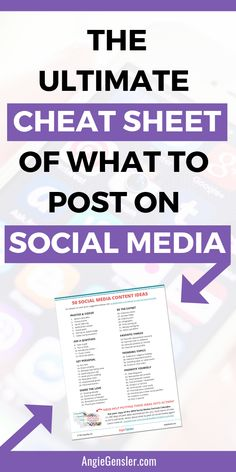 What to Post on Social Media - The Ultimate Cheat Sheet for 2018. Looking for some unique social media post ideas to grow your business this year? Click through for all 50 ideas plus a free cheat sheet! This is perfect for small business owners and bloggers. #AngieGensler #EntrepreneurTips #SocialMediaMarketing Facebook Marketing, Content Marketing, Online Marketing, Social Media Marketing, Affiliate Marketing, Digital Marketing, Marketing Ideas, Social Media Content, Social Media Tips