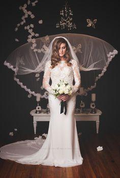 Modern Elegant Couture Wedding Gown (model # Liz PB096) -Made To Order $1,400+