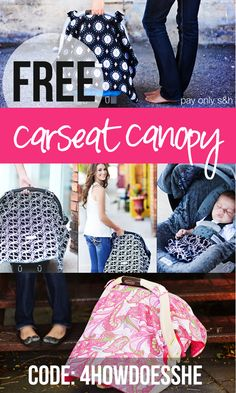 FREE Carseat Canopy! They come in so many fun patterns and styles! You can also customize them to make them the perfect gifts! See post for more information @ HowDoesShe.com