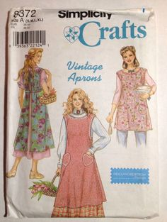 Simplicity Sewing Pattern 8372 Vintage Style Aprons S M L XL NOS Uncut FF 1998 #Simplicity