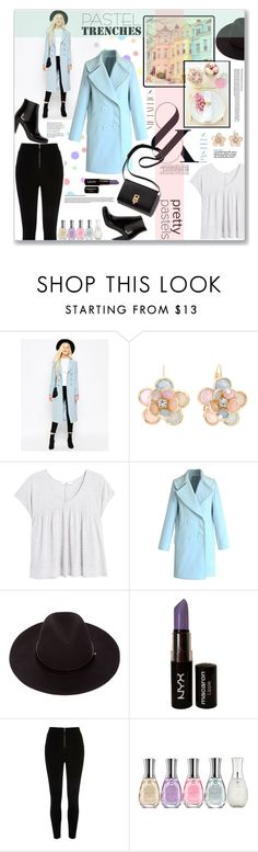 Pastel Trenches by katrina-byrd-jones on Polyvore featuring MANGO, ASOS, Chicwish, River Island, Yves Saint Laurent, Mixit, NYX, Sally Hansen, women's clothing and women's fashion