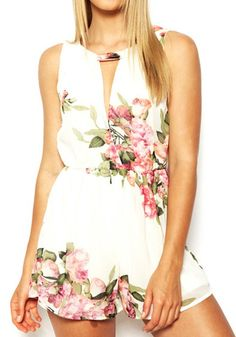 Cheap summer playsuit, Buy Quality playsuits jumpsuits directly from China romper women summer Suppliers: open back chiffon floral romper womens Summer playsuits jumpsuit summer cute feminino vestidos female overalls Clothing Chiffon Floral, Print Chiffon, White Chiffon, Floral Jumpsuit, Floral Romper, White Jumpsuit, Printed Jumpsuit, Floral Shorts, Elegant Jumpsuit