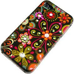 Spot Diamond Black Multi-Flower Case for iPhone 4/4S