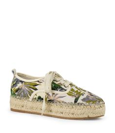 Vivid floral patterns and a summery platform of stitched jute adds right-on-trend lift to a lace-up sneaker from J/Slides for Edward Meller.- Platform height is approximately Generous fit- Leather insole and sock lining- Fabric u Lining Fabric, Jute, Shoes Online, Fashion Shoes, Shoes Sandals, Floral Prints, Lace Up, Platform, Footwear