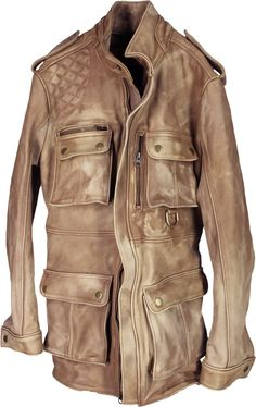 FR Leather Jacket Rugged Napa Washed Stone / Contrasted - Hunting