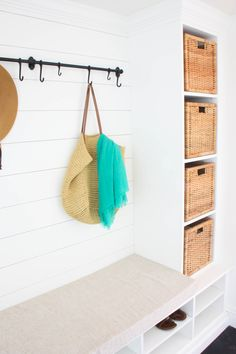 Our fixer upper's mudroom reveal! Full of small mudroom ideas, mudroom organization, mudroom storage, a mudroom bench, and all the FREE tips & tricks we used!