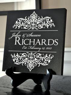 Family Name Established Sign Plaque Laser Engraved 8x8. $33.00, via Etsy.