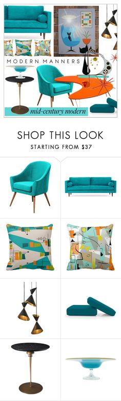 """Clean Spaces * Mid-Century Modern"" by calamity-jane-always ❤ liked on Polyvore featuring interior, interiors, interior design, home, home decor, interior decorating, Joybird, Global Views, Murano and modern"