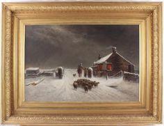 Joseph Wrightson McIntyre Large Antique Oil Painting Snow Figure Horse Sheep Dog Joseph, Painting, Snow, Antiques, Artwork, Oil, Ebay, Antiquities, Antique