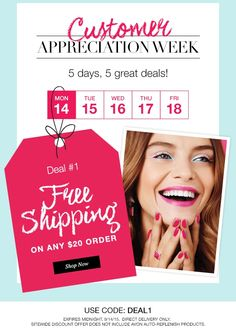 Avon free shipping on any $20 online order! Use code: DEAL1 - Exp: midnight 9/14/2015 http://eseagren.avonrepresentative.com ‪#‎avon‬ ‪#‎freeshipping‬ ‪#‎coupon‬