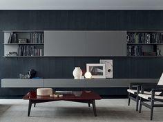 Modular wooden TV wall system SKIP by Poliform design Studio Kairos