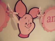 Piglet birthday banner,  I AM 2 banner, photo prop, photography prop, GIRL birthday.  Piglet decorations, winnie the pooh birthday. $15.00, via Etsy.