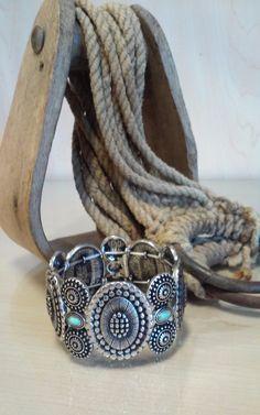 Oval Aztec Inspired Stretch Bracelet