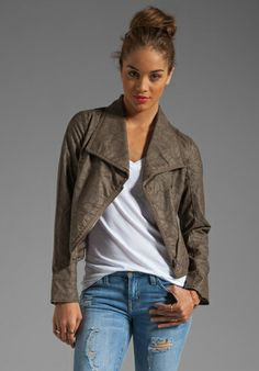 Jack by BB Dakota Sandler 2 Tone Crinkle Faux Leather Jacket in Concrete  61.00!!!