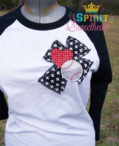 Raglan Baseball or Softball Love Raggy Cross Tee for Baseball Moms, Girlfriends, etc - Unisex