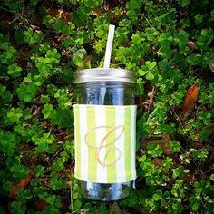 Get your monogrammed mason jar tumbler to celebrate St. Patrick's Day!!