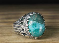 925 K Sterling Silver Man Ring Green Aventurine 9,5 US Size B20-64995 #istanbul #Cluster