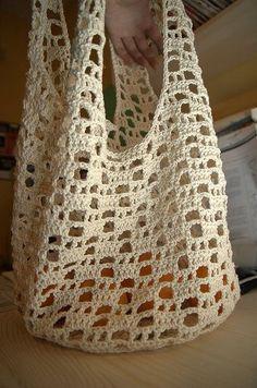 Bag Lady Pinspiration! I love the shape of this bag!. ☀CQ #crochet #bags #totes http://www.pinterest.com/CoronaQueen/crochet-bags-totes-purses-cases-etc-corona/ #crochetbags