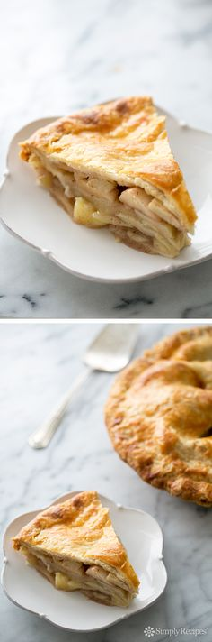 Apple Pie ~ Homemade apple pie with a flaky pie crust and sliced apples, sugar, allspice, nutmeg, cinnamon, vanilla and brandy ~ SimplyRecipes.com