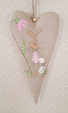 Пасхальные украшения - XXL Сердце Пасхальный заяц Коттедж - дизайнер кусок Feinerlei на DaWanda