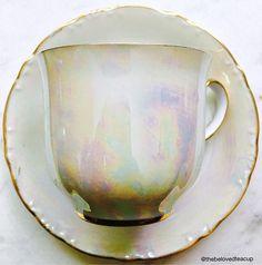 Bavaria Germany Iridescent Opal Porcelain Demitasse Tea Cup