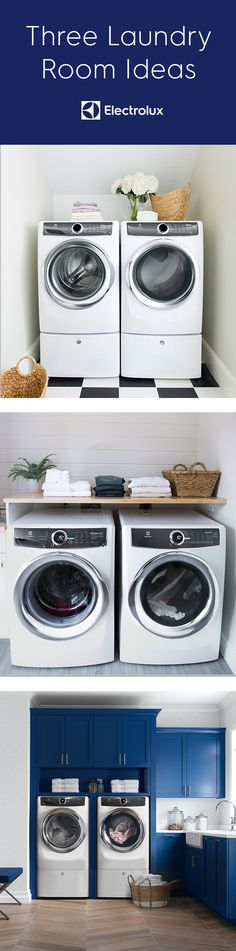 Find a new washing machine for your home with one of these Electrolux front-loading clothes washers. Upgrade your laundry room today. Laundry Room Design, Laundry Rooms, Laundry Room Inspiration, White Appliances, Housekeeper, Contrast Color, Washroom, Next At Home, Humble Abode